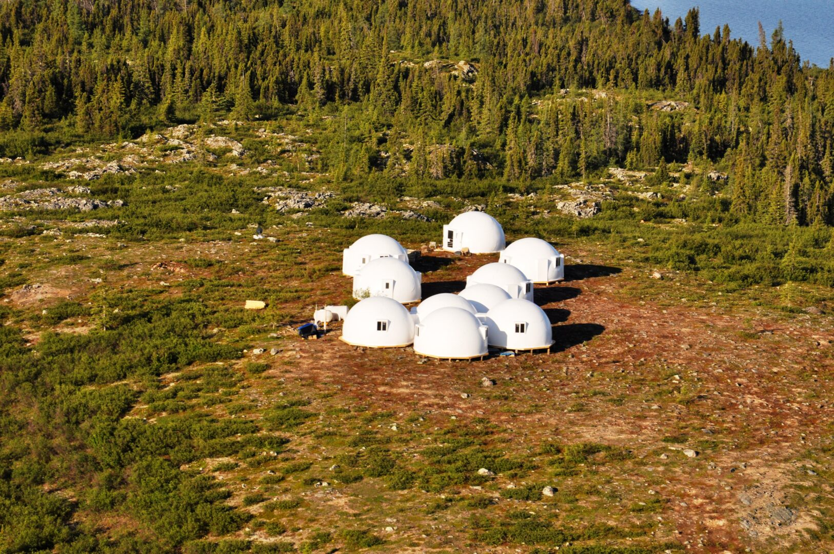 Group of safety shelters from InterShelter Inc. for disaster relief