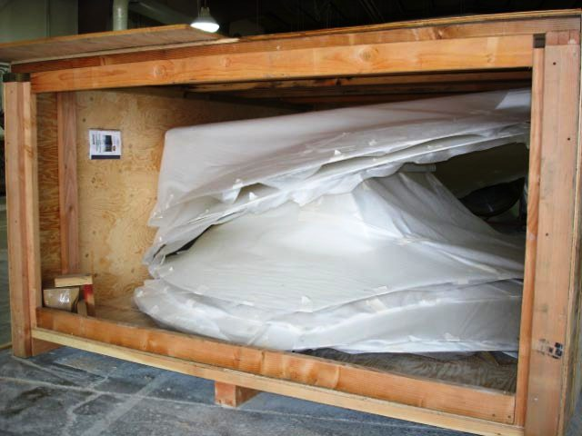 Dismantled safety shelter from InterShelter Inc. for disaster relief
