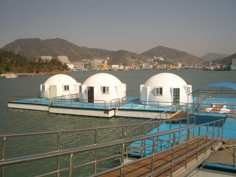 Floating safety shelters from InterShelter Inc. to be used for disaster relief