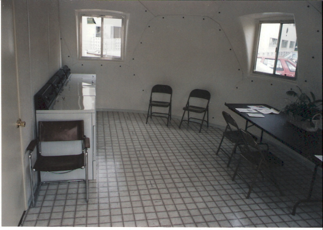 Inside a safety shelter from InterShelter Inc. to be used for disaster relief