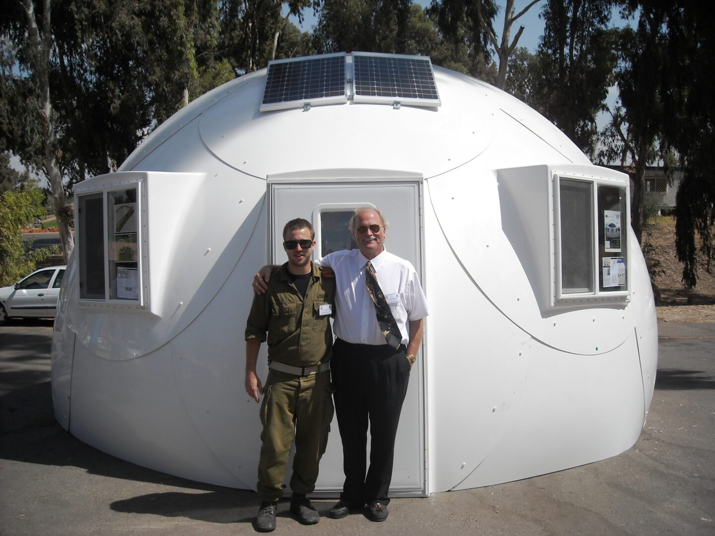white military-grade safety shelter from InterShelter Inc.