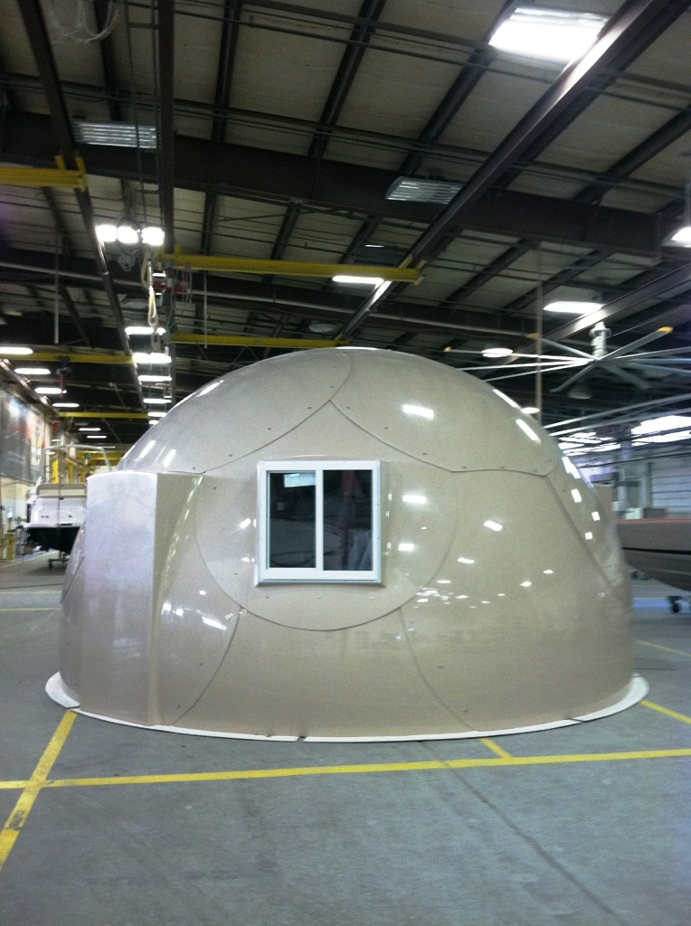 gray military-grade safety shelter from InterShelter Inc.