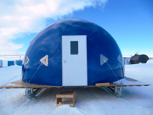 blue, safe, comfortable, fireproof safety shelter dome from InterShelter Inc.