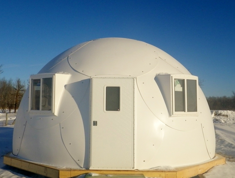 white, safe, comfortable, fireproof safety shelter dome from InterShelter Inc.